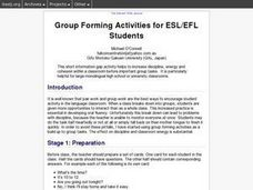 Group Forming Activities for ESL/EFL Students Lesson Plan