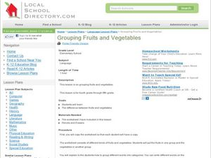 Grouping Fruits and Vegetable Lesson Plan