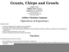Grunts, Chirps and Growls Lesson Plan