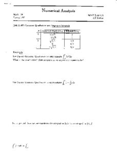 Guassian Quadrature and Improper Integrals Worksheet