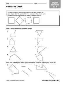 Guess and Check-Congruent Figures: English Learners Worksheet