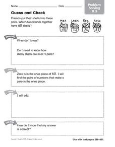 Guess and Check Problem Solving 11.5 Worksheet