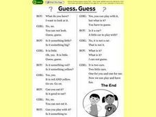 Guess, Guess Story Text Worksheet