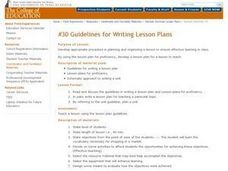 Guidelines for Writing Lesson Plans Lesson Plan