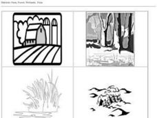 Habitats Black and White Pictures: Farm, Forest, Wetlands, Polar Worksheet