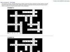 Half a crossword - The Family Worksheet