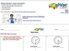 Half-Hour Worksheet