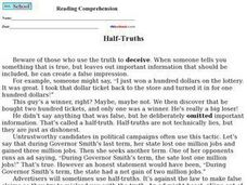 Half-Truths Reading Comprehension Worksheet