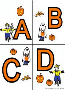 Halloween Alphabet Letter Cards A-H Worksheet