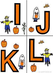 Halloween Alphabet Letters: I-O Worksheet
