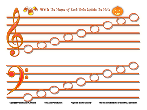 halloween music notation name the notes 5th 6th grade