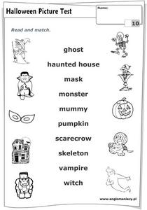 Halloween Picture Test Worksheet