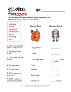 Halloween Positive/Negative Worksheet
