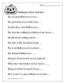 Worksheets Science Starters Worksheet halloween story starters 5th 6th grade worksheet lesson planet worksheet