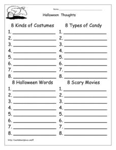 Halloween Thoughts Worksheet