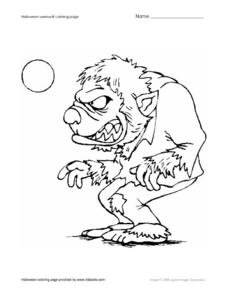 Halloween Werewolf Coloring Page Worksheet
