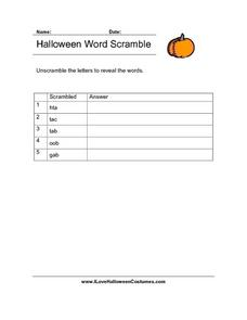 Halloween Word Scramble Lesson Plan