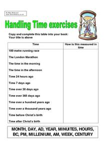 Handling Time Exercises Worksheet
