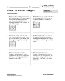 Hands On: Area of Triangles Worksheet