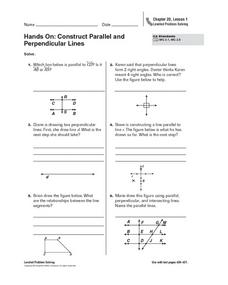 Hands On: Construct Parallel and Perpendicular Lines Worksheet