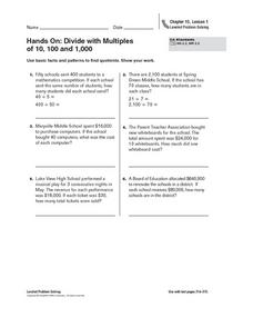 Hands On: Divide with Multiples of 10, 100, and 1,000 Worksheet
