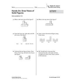 Hands On: Draw Views of  Solid Figures Worksheet