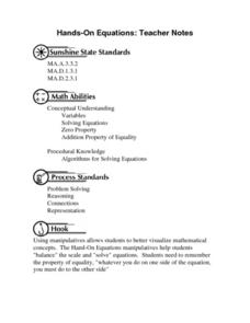 Hands-On Equations: Teacher Notes Worksheet