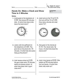 Hands On: Make a Clock and Show Time to 5 Minutes Worksheet