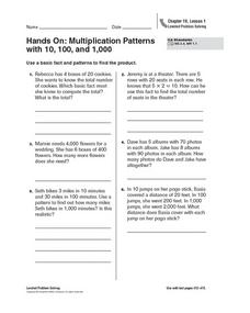 hands on multiplication patterns with 10 100 and 1 000 4th 5th grade worksheet lesson planet. Black Bedroom Furniture Sets. Home Design Ideas