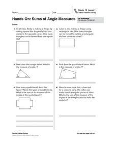 Hands-On: Sums of Angle Measures Worksheet