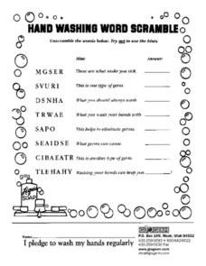 Handwashing Word Scramble Worksheet