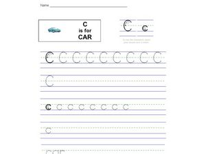 Handwriting: C is for Car Worksheet