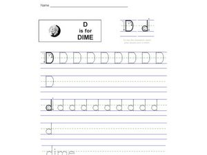 Handwriting: D is for Dime Worksheet