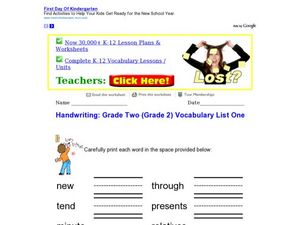 Handwriting: Grade Two Vocabulary List One Worksheet