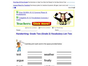 Handwriting: Grade Two Vocabulary List Two Worksheet