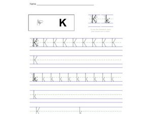 Handwriting Practice: Letter Kk Worksheet