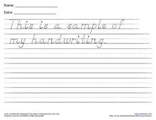 Handwriting Sample Worksheet