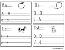 Handwriting the Letters A,B,C,D Worksheet