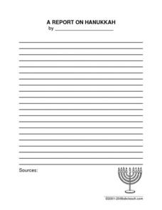 Hanukkah Report Worksheet