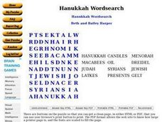 Hanukkah Wordsearch Worksheet