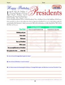 Happy Birthday Presidents Lesson Plan