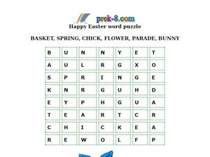 Happy Easter Word Puzzle Worksheet