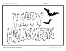 Happy Halloween Poster Coloring Page Worksheet