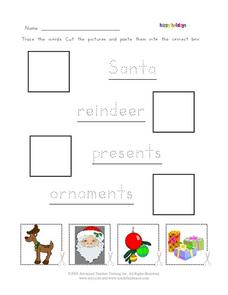 Happy Holidays: Word Recognition Worksheet