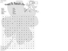 Happy St. Patrick's Day Word Search Worksheet