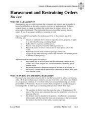 Harassment and Restraining Orders Lesson Plan
