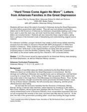 """Hard Times Come Again No More"" : Letters From Arkansas Families in the Great Depression Lesson Plan"