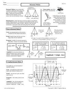 Harmonic Motion Worksheet