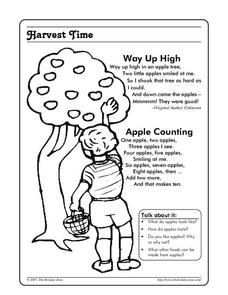 Harvest Time - Coloring and Discussion Page Worksheet