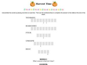 Harvest Time Worksheet